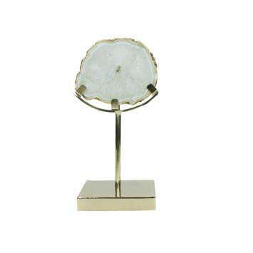 Kandelaar Agaat metaal goud 25x10x10 cm