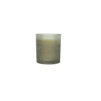 Kaars Questa in glas grijs 10x9x9 cm