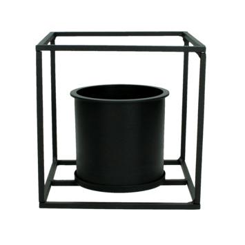 Planter metaal zwart 17,4x17x17 cm