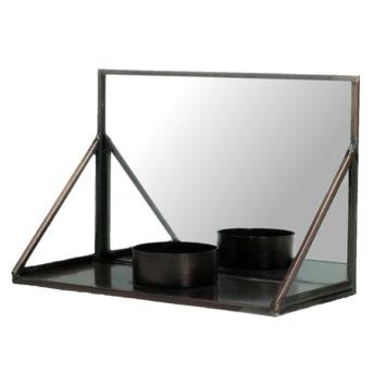 Theelichthouder Jenna metaal/glas koper 10x15.2x6.7 cm