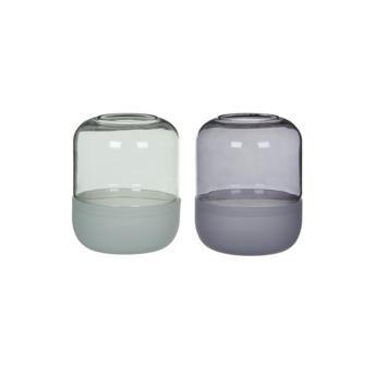 Stolp Padborg glas grijs groen 19x14,5cm