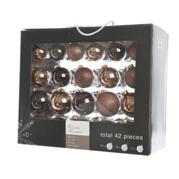 Kerstballen glas suede choco bruin 42 stuks