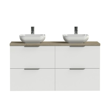 Tiger badkamermeubel Studio 120cm hoogglans wit/witte waskom met profielgrepen