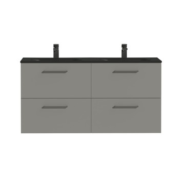 Tiger badkamermeubel Studio 120cm matgrijs/mat zwart met vierkante greep