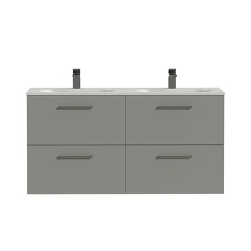 Tiger badkamermeubel Studio 120cm matgrijs/mat wit met vierkante greep