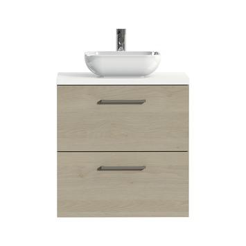 Tiger badkamermeubel Studio 60cm naturel eik/witte waskom met vierkante greep