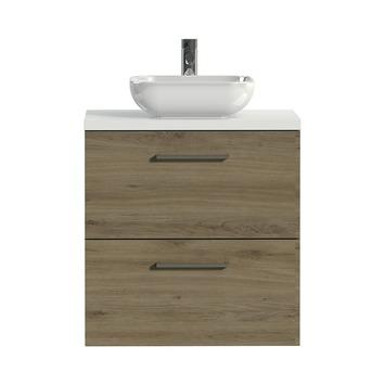 Tiger badkamermeubel Studio 60cm chalet eik/witte waskom met vierkante greep