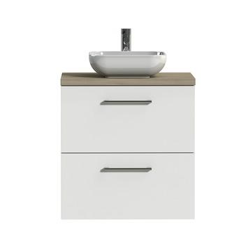 Tiger badkamermeubel Studio 60cm hoogglans wit/witte waskom met ronde greep