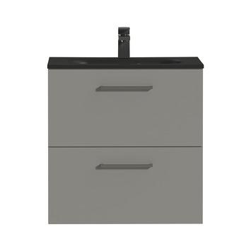 Tiger Badkamermeubel Studio 60 cm Mat Grijs met Polybeton Wastafel Mat Zwart en Vierkante Grepen