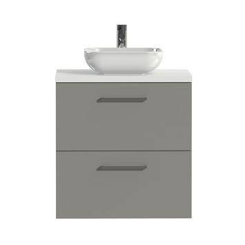 Tiger badkamermeubel Studio 60cm matgrijs/witte waskom met vierkante greep