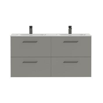 Tiger badkamermeubel Studio 120cm matgrijs/wit met vierkante greep