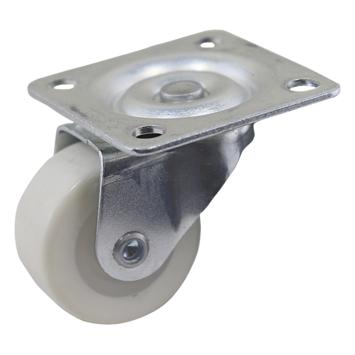 Zwenkwiel PUR met plaatbevestiging Ø 30 mm max. 20 kg wit