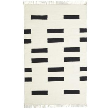 Goa Vloerkleed Wit/Zwart Geblokt 5 mm 160x230 cm