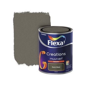 Flexa Creations metallic muurverf mat dark steel 1 l