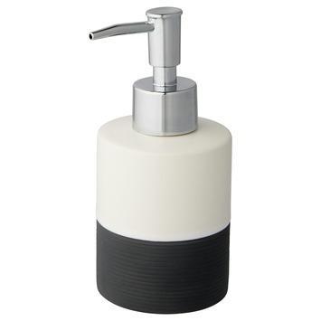Atlantic zeepdispenser keramiek met ribbels Wit/Antraciet