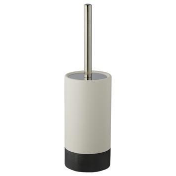 Atlantic toiletborstelgarnituur keramiek met ribbels Wit/Antraciet