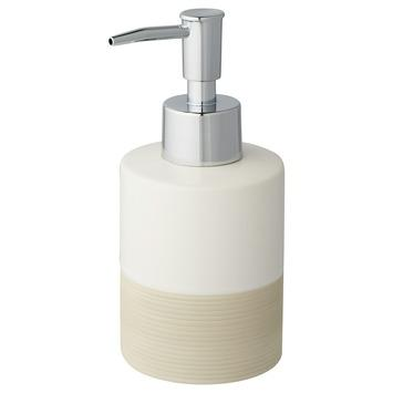 Atlantic zeepdispenser keramiek met ribbels Wit/Zand