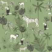 Claas vliesbehang jungle donkergroen