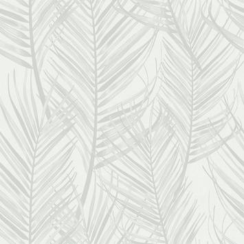 Vliesbehang palm wit-grijs (dessin 105964)