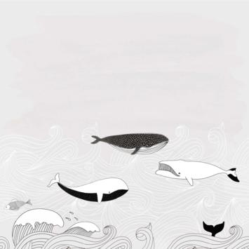Claas fotobehang walvis zwemt in zee beige