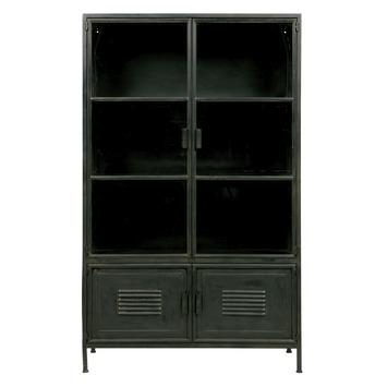 WOOOD metalen vitrinekast Ronja zwart 167x99x40,5 cm