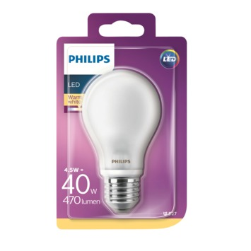 Philips LED peer frosted E27 4,5W(=40W) 470lm warm wit