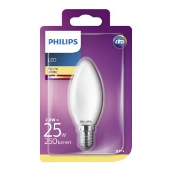 Philips LED kaars E14 2,2W(=25W) 250lm warm wit