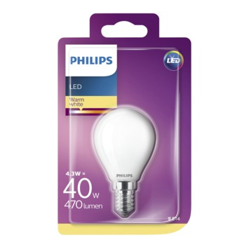 Philips LED kogel frosted E14 4,3W(=40W) 470lm warm wit
