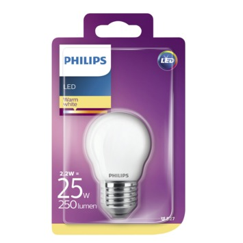 Philips LED kogel frosted E27 2,2W(=25W) 250lm warm wit