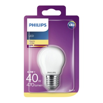 Philips LED kogel frosted E27 4,3W(=40W) 470lm warm wit