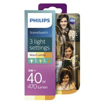 Philips LED kaars E14 5W(=40W) 470lm warm wit dimbaar Scene Switch