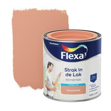 Flexa Strak in de lak voor binnen koraalroze zijdeglans 250 ml