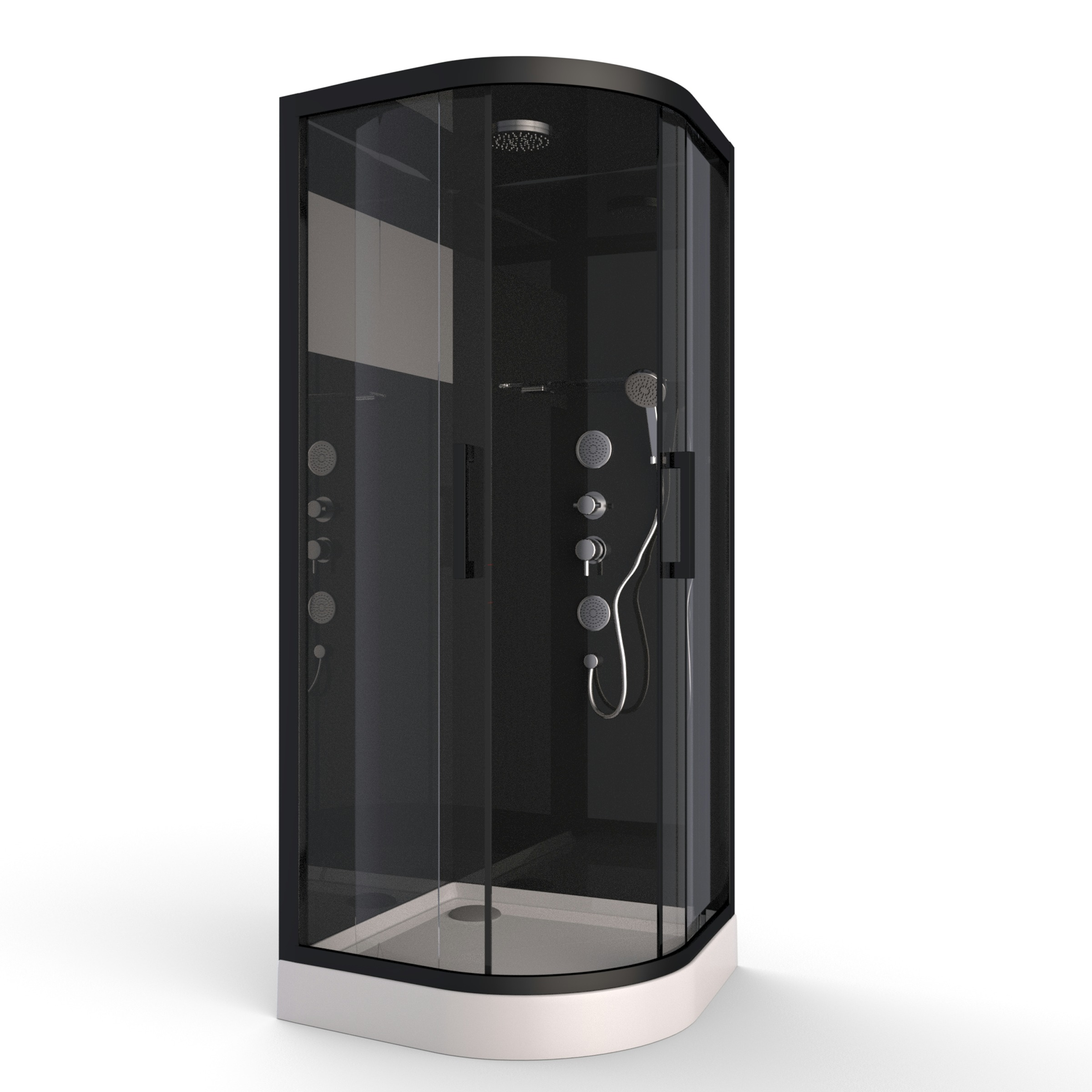 Aurlane Douchecabine met Schuifdeur Black Mirror 2 Kwartrond Zwart 90x90 cm