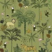 Claas fotobehang jungle donkergroen