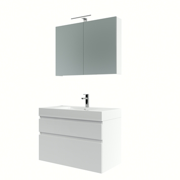 Bruynzeel Monta badmeubelset met spiegelkast 90 cm hoogglans wit
