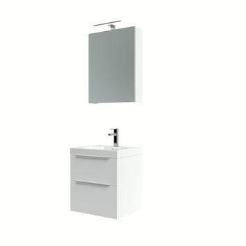 Muza badmeubelset 50cm hoogglans wit inclusief spiegelkast