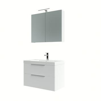 Muza badmeubelset 80cm hoogglans wit inclusief spiegelkast