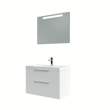 Muza badmeubelset 80cm hoogglans wit inclusief spiegel