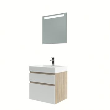 Bruynzeel Monta badmeubelset met spiegel 60cm grijs eiken/wit