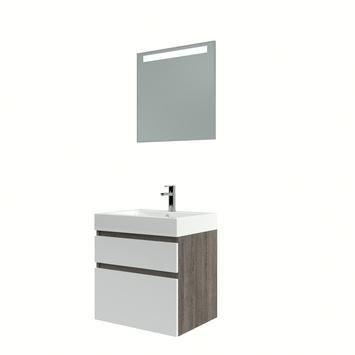 Bruynzeel Monta badmeubelset met spiegel 60 cm wengé/wit