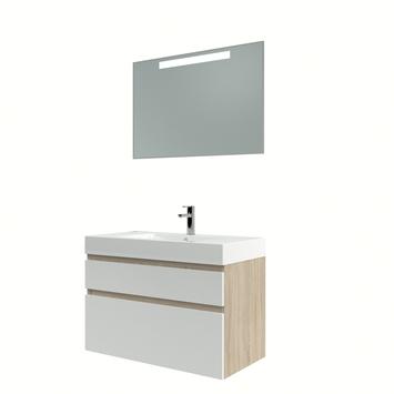 Bruynzeel Monta badmeubelset met spiegel 90 cm grijs eiken/wit