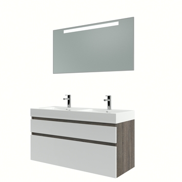 Bruynzeel Monta badmeubelset met spiegel 120 cm wengé/wit