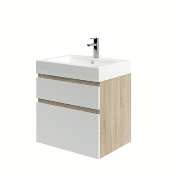 Bruynzeel Monta badkamermeubel 60 cm grijs eiken / hoogglans wit