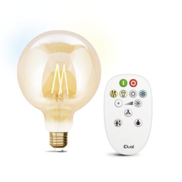 iDual White filament 125mm Globe E27 806 lumen gold incl. afstandsbediening