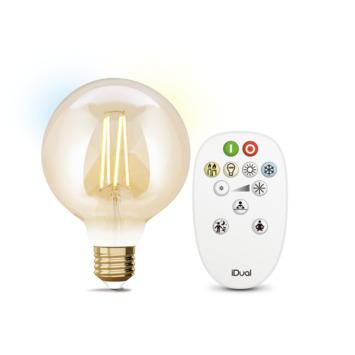 iDual White filament 95mm globe E27 806 lumen gold incl. afstandsbediening
