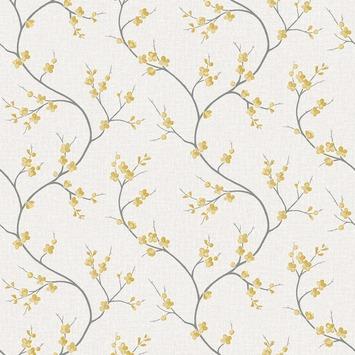 Vliesbehang bloem geel (dessin 50-320)