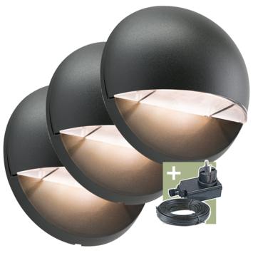 Ludeco buitenlamp Vidar 12V startersset zwart 3 stuks