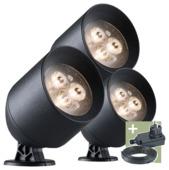 Ludeco tuinspot Laros 12V startersset zwart 3 stuks