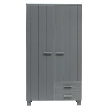 WOOOD 2 deurs kast Dennis staal grijs 202x111x55cm
