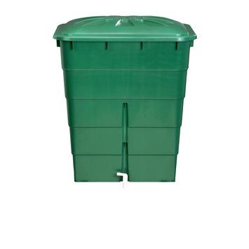 Garantia Regenton rechthoekig groen 300 Liter met kraantje en vulautomaat